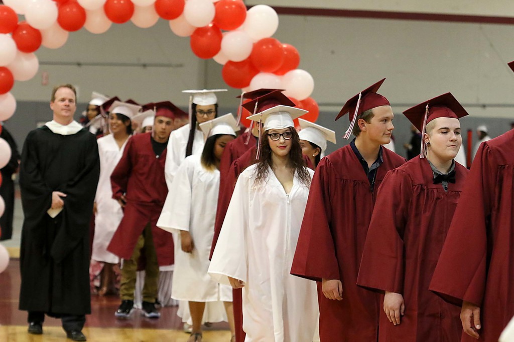 . Scenes from the Goodrich Academy Class of 2018 graduation on Thursday 31, 2018 at the Fitchburg High School field house. Graduates enter the field house at the start of the graduation. SENTINEL & ENTERPRISE/JOHN LOVE