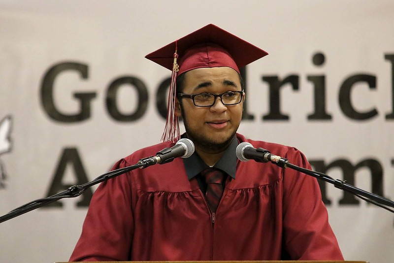 Scenes from the Goodrich Academy Class of 2018 graduation on Thursday 31, 2018 at the Fitchburg High School field house. Student Emmett Dunning was one of the student speakers at the ceremony. SENTINEL & ENTERPRISE/JOHN LOVE