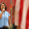 Scenes from the Fitchburg Goodrich Academy graduation at Fitchburg High School on Thursday June 1, 2017. Anna Choi sings the national anthem during the ceremony. SENTINEL & ENTERPRISE/JOHN LOVE