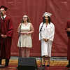 "Scenes from the Fitchburg Goodrich Academy graduation at Fitchburg High School on Thursday June 1, 2017. The schools chorus sings the class song ""The Days"" by Avici during the ceremony. From left is Grad Sean Homer, junior Veronica Dobson, grad Alyana LaJoie and gard Jacob Penniman. SENTINEL & ENTERPRISE/JOHN LOVE"