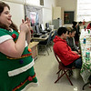 Fitchburg's Goodrich Academy held a holiday party for it students on Wednesday, Dec. 18, 2019. Tkain pictures at the party all dresed up like a Christmas tree is math teacher Erin Greathead. SENTINEL & ENTERPRISE/JOHN LOVE