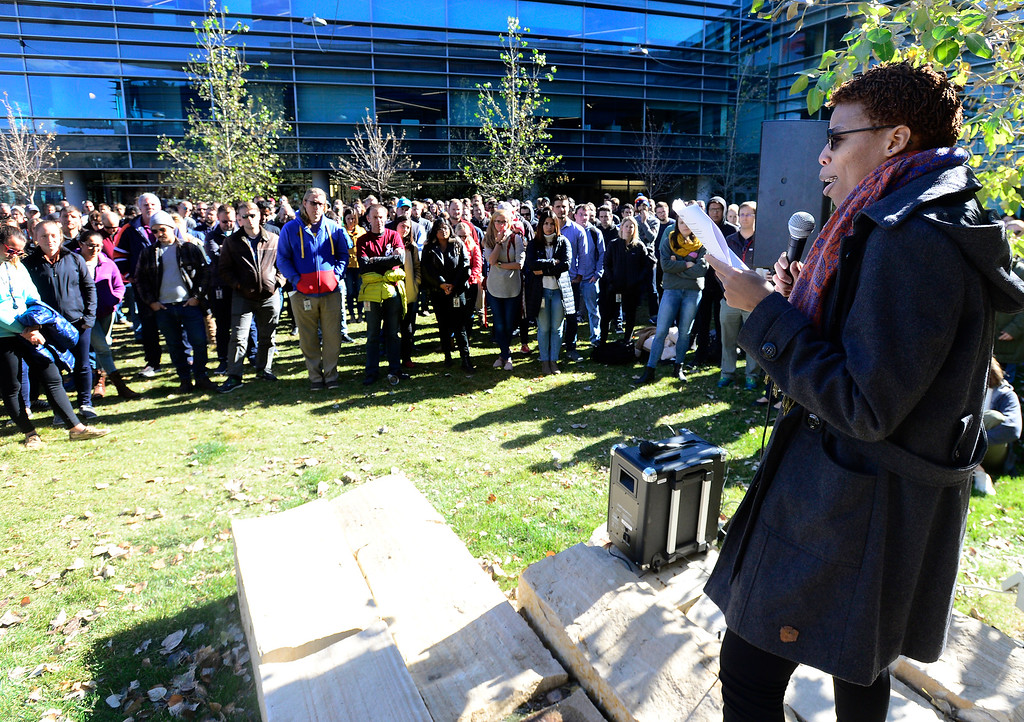". BOULDER, CO - NOVEMBER 1, 2018 A Google employee who declined to give her name addresses the crowd during the Boulder Colorado Google Campus ""Walkout For Real Change\"" on Thursday November 1, 2018. Employees walked out from their jobs to protest and as for change the sexual harassment policies at Google.  (Photo by Paul Aiken/Staff Photographer)"