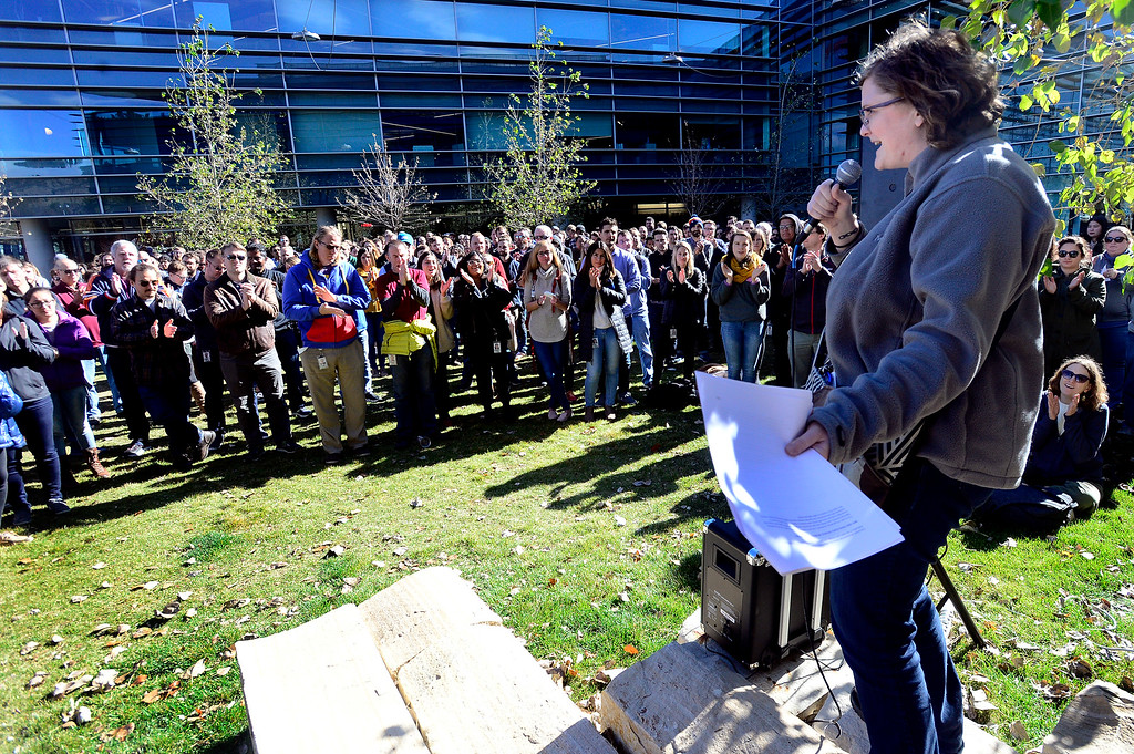 ". BOULDER, CO - NOVEMBER 1, 2018 Google employee Coleen Elliot addresses the crowd during the Boulder Colorado Google Campus ""Walkout For Real Change\"" on Thursday November 1, 2018. Employees walked out from their jobs to protest and as for change the sexual harassment policies at Google.  (Photo by Paul Aiken/Staff Photographer)"