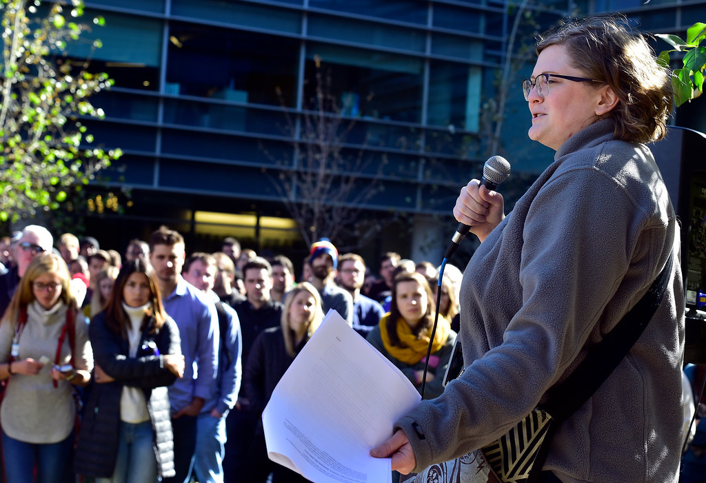 ". BOULDER, CO - NOVEMBER 1, 2018 Google employee Coleen Elliot address the crowd during the Boulder Colorado Google Campus ""Walkout For Real Change\"" on Thursday November 1, 2018. Employees walked out from their jobs to protest and as for change the sexual harassment policies at Google.  (Photo by Paul Aiken/Staff Photographer)"