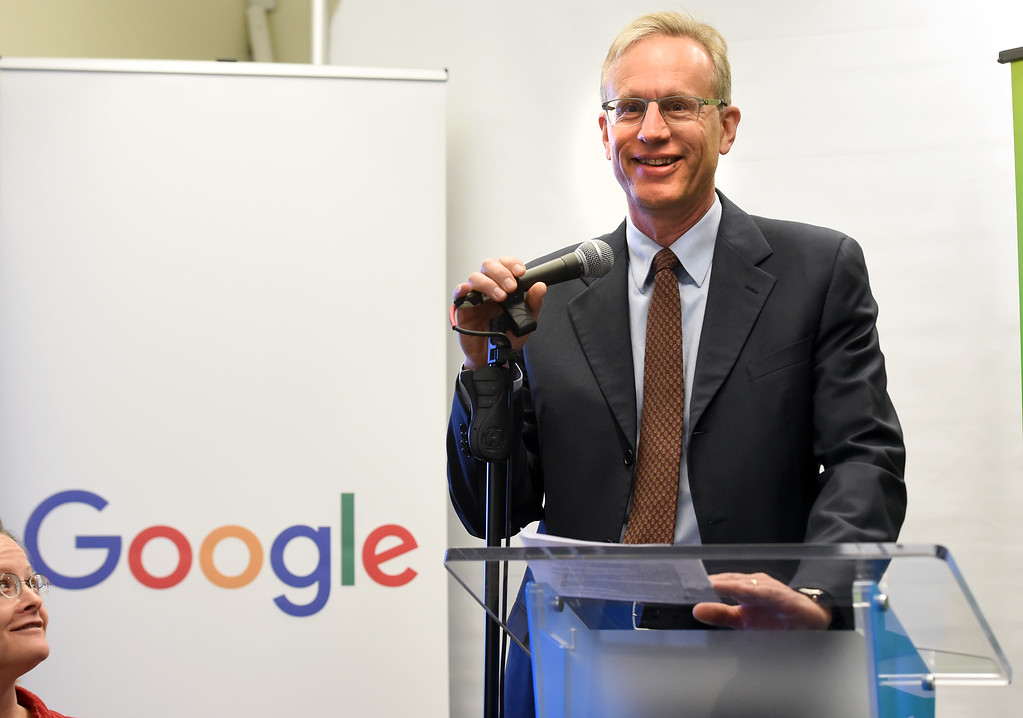 . Scott Green, Site Director of Google, speaks to the audience. Google  announced contributions of more than $2 million to National Center for Women & Information Technology and CU Boulder�s PhET Interactive Simulations project on Thursday. For more photos, go to dailycamera.com. Cliff Grassmick  Staff Photographer  June 28, 2018