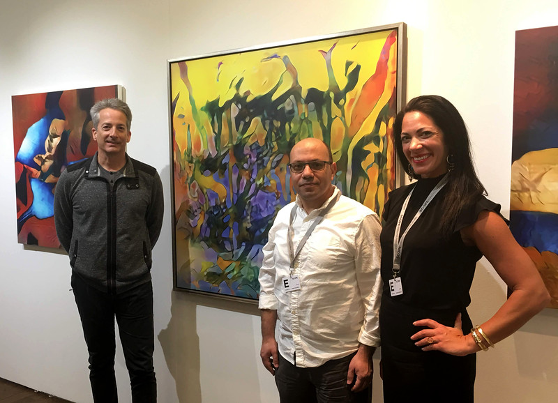 Artist w/ fellow AI artist, Ahmed Elgammal, and art advisor, Jessica Davidson