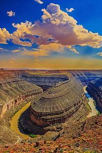 """""""Desert Island,"""" Golden Hour over the San Juan River, Goosenecks State Park, Utah"""