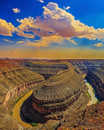 """Whittled By Water,"" Golden Hour over the San Jaun River, Goosenecks State Park, Utah"