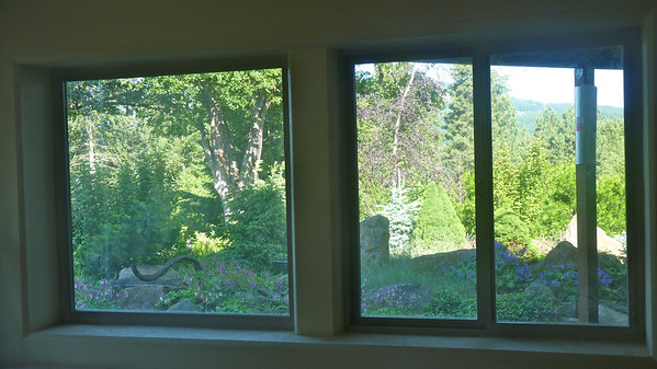 View of landscaping from inside guest house.