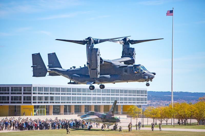 CV-22 Osprey Landing at the Air Force Academy Quad