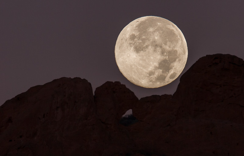 Moonset on Kissing Camels in Garden of the Gods Park, Colorado