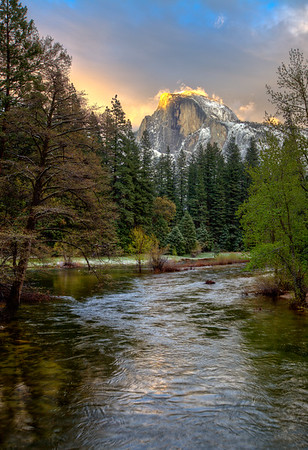 """Fire on the Mountain"", Half-Dome at sunset, Yosemite NP"