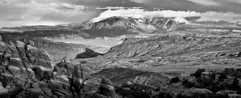 La Sal Mountains at Sunset B&W