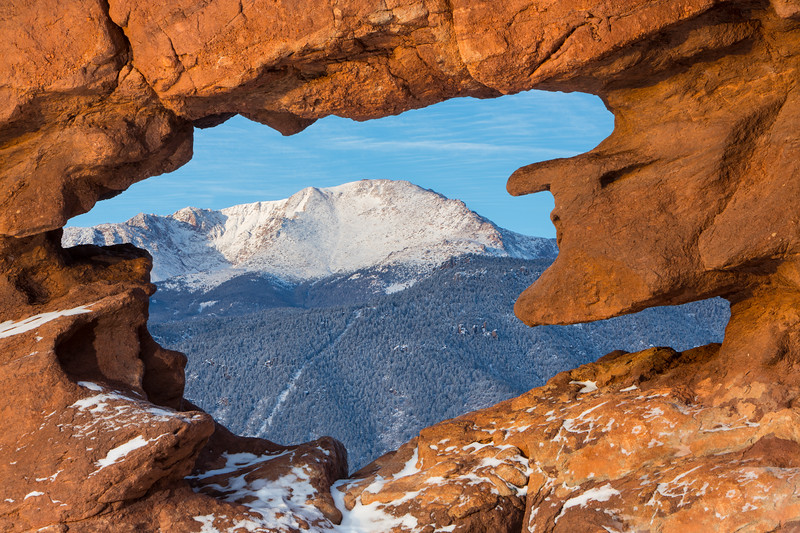 Pikes Peak and the Manitou Incline through the Siamese Twins Window