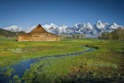 Mormon Barn and Teton Panorama after snow storm