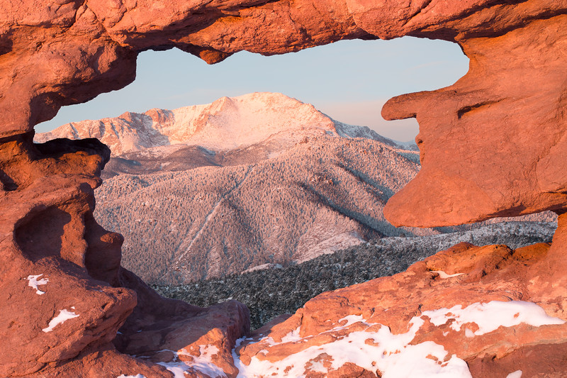 Pikes Peak following a Spring Snowstorm as seen through the Siamese Twins Window
