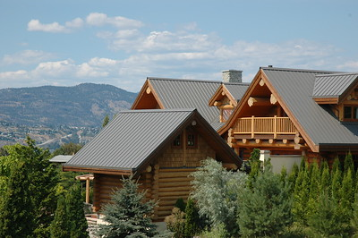 Beautiful example of Log Building with metal roofing