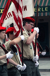 Roger Schneider | The Goshen News A Boy Scout color guard marches down Main Street in Goshen Monday during the Memorial Day parade.