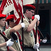 Roger Schneider | The Goshen News<br /> A Boy Scout color guard marches down Main Street in Goshen Monday during the Memorial Day parade.