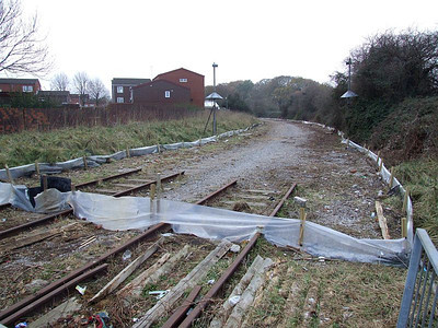 Most of the Bedenham loop west of Forest Way has been cut short and removed in this view from Forest Way, taken on 25th December 2010.