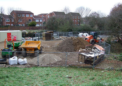 The contractors compound from Tichborne Way on 25th December 2010; all sleepers have by now been despatched elsewhere.