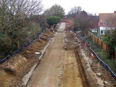 View to Brewers Arch from Tichborne Way on 25th December 2010, showing the trackbed prepared for surfacing.