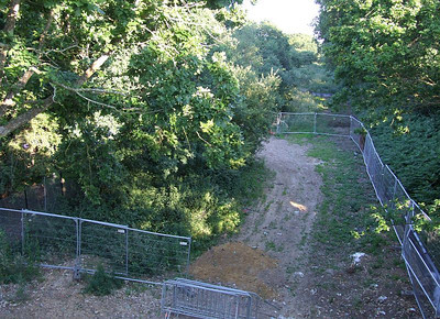 Cleared trackbed next to the compound, looking south from Tichborne Way on 26th June 2010.