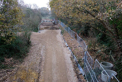 View south from Tichborne Way on 25th December 2010.; the area in the foreground, adjoining the contractors compound (left) has levelled, and partially prepared for resurfacing.