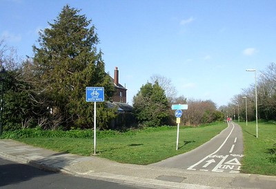 The trackbed/cycleway seen from its southern end in Crescent Road, looking north towards Clayhall Road from the site of the level crossing. 22nd March 2015.