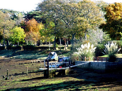 The foreshore of Haslar Creek, looking towards Haslar Naval Cemetery, viewed from the trackbed immediately south of Jackie Spencer's Bridge. 12th October 2009.