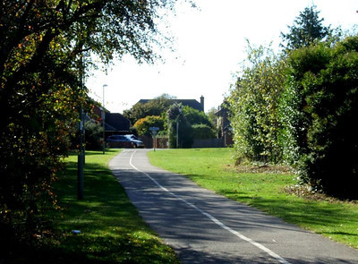 View towards Stokes Bay on the section of trackbed south of Clayhall Road; the cycleway ends here at Crescent Road, the rest of the trackbed having been redeveloped over the years. Crescent Road can be seen at the end of the track here. 12th October 2009.