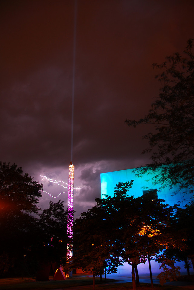 Lightning flashes across the sky behind the Arts Museum on the IU campus June 7, 2008, the night before the big flood of 2008.