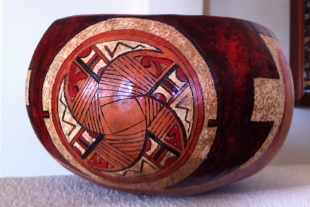 Sold. Large fabric lined gourd with Hopi style design. Burned, carved and dyed with clear acrylic finish. Can be used for serving foods. Picture 1 of 4.