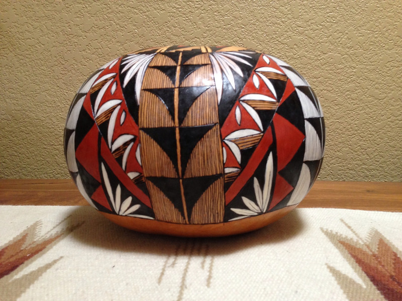 "This is the second pattern, notice the 'triangle' points down. This complex gourd is about 8"" high and about 30"" radius"