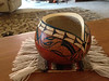 Sold - side view finished painted, carved and etched gourd.