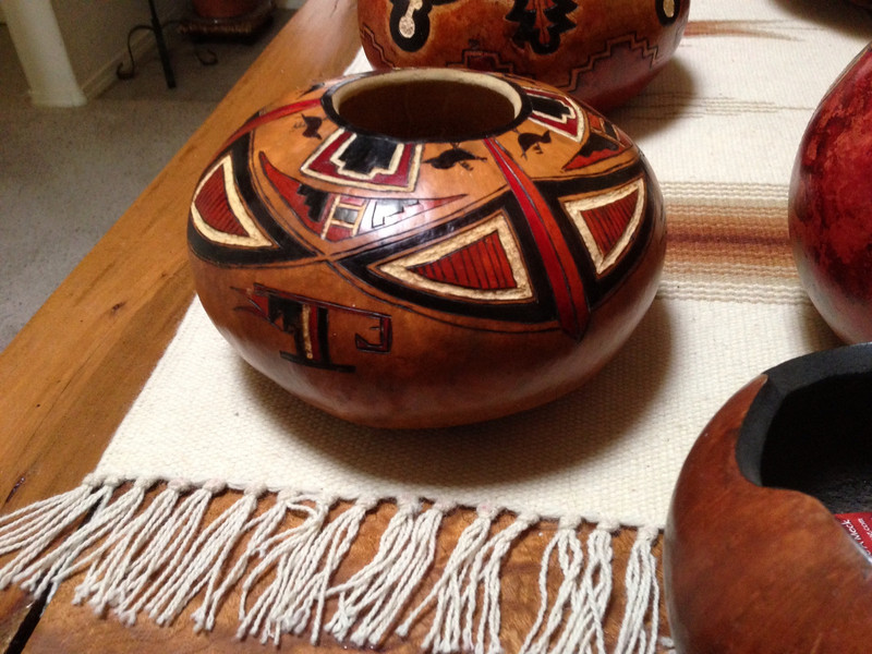 SOLD  Another view of this gourd showing more of it's 'canteen' shape and the side design.