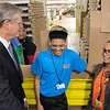Gov. Charlie Baker took a tour of AIS in Leominster to celebrate October as Manufacturing Month in Massachusetts on Wednesday, Oct. 9, 2019. Gov. Baker stopped to talk to some employees as he toured the plant. He talks with Crew Leader Marcelino Reyes and Heidy Dipre with quality control. SENTINEL & ENTERPRISE/JOHN LOVE