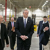 Gov. Charlie Baker took a tour of AIS in Leominster to celebrate October as Manufacturing Month in Massachusetts on Wednesday, Oct. 9, 2019. Gov. Baker, center, walks the manufacturing floor with President/CEO Bruce Platzman, on left, and COO Steve Savage during the tour of the plant. SENTINEL & ENTERPRISE/JOHN LOVE
