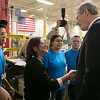 Gov. Charlie Baker took a tour of AIS in Leominster to celebrate October as Manufacturing Month in Massachusetts on Wednesday, Oct. 9, 2019. Gov. Baker stopped to talk to some employees as he toured the plant. He shakes hands with Supervisor Maria Roman. SENTINEL & ENTERPRISE/JOHN LOVE
