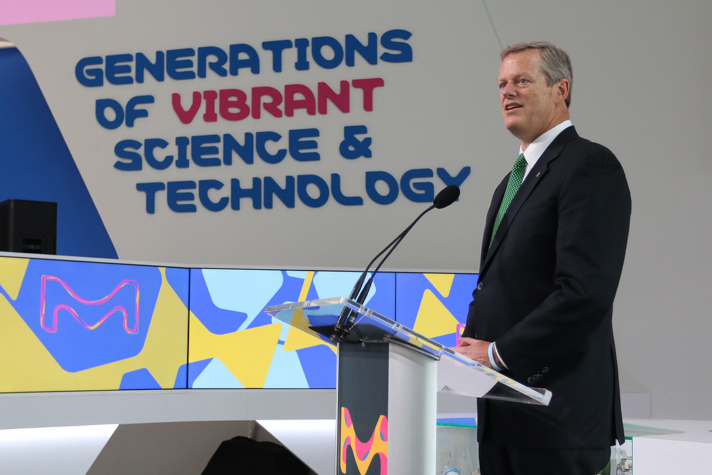 . Gov. Charlie Baker was at MilliporeSigma on Wednesday morning for the ribbon cutting to open its new North American Life Science Center in Burlington. Baker Addresses the crowd at the event. SUN/JOHN LOVE