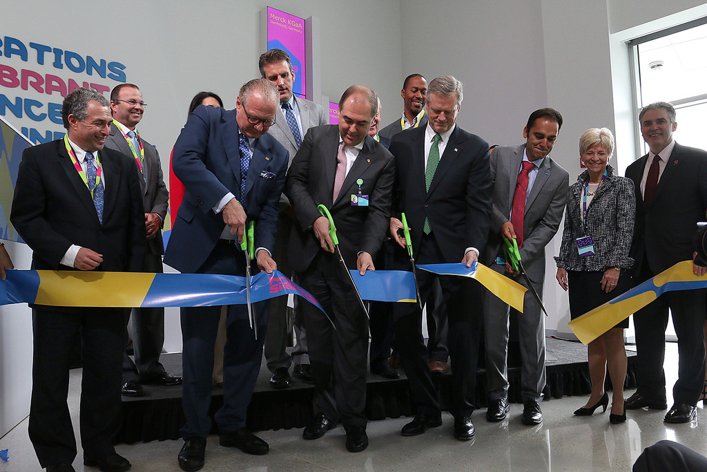 . Gov. Charlie Baker was at MilliporeSigma on Wednesday morning for the ribbon cutting to open its new North American Life Science Center in Burlington. Cutting the ribbon, from left, is Stefan Oschmann chairman of the Merck KGaA, Darmstadt, Germany Executive Board, Johannes Baillou chairman of the Board of Partners and vice chairman of the Family Board and Executive Board of E.Merck KG, Darmstadt, Germany, Gov. Charlie Baker and Udit Batra CEO of MillporeSigma. With them are other state officials and MilliporeSigma executives. SUN/JOHN LOVE