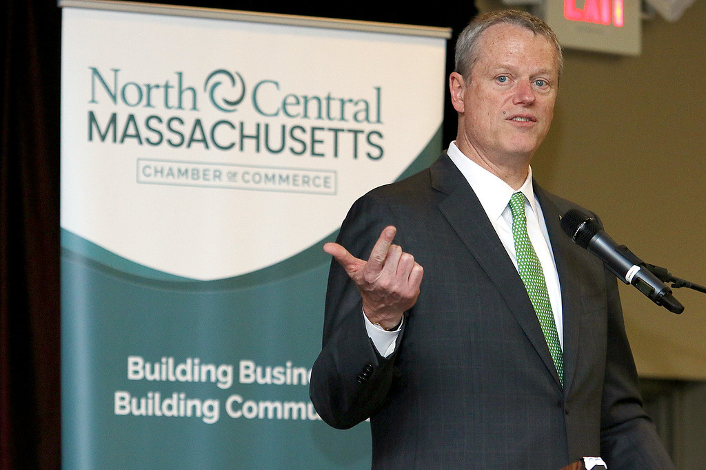 . Governor Charlie Baker addresses the crowd at the North Central Massachusetts Chamber of Commerce annual business meeting at Great Wolf Lodge New England in Fitchburg. SENTINEL & ENTERPRISE/JOHN LOVE