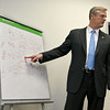 Gov. Charlie Baker visited the Sun newsroom on Wednesday February 15, 2017.  He gave the editorial board a health care lesson during his visit. SUN/JOHN LOVE