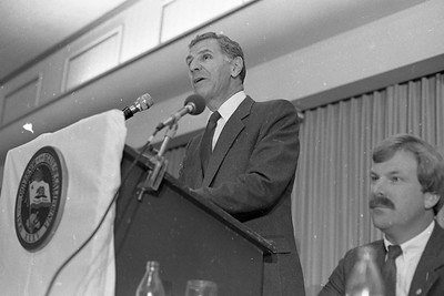 Gov. George Deukmejian talks at a Eureka Chamber of Commerce luncheon  July 12, 1984 at the Eureka Inn.  Danny Walsh, of the Humboldt County Board of Supervisors, is pictured at right. (Times-Standard file photo)