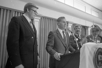 Gov. George Deukmejian makes a speech in front of members of the Eureka Chamber of Commerce in July 1984 at the Eureka. He talked about various topics during the luncheon, ranging from jobs and highway funding to the state budget and education. (Times-Standard file photo)