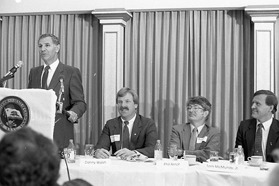 Gov. George Deukmejian, left, talks at a Eureka Chamber of Commerce luncheon on July 12, 1984 at the Eureka Inn. He's pictured with, seated from left, Danny Walsh, Phil Arnot and Tom McMurray Jr.  (Times-Standard file photo)