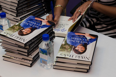 "Gov. Nikki Haley signs copies of her book ""Can't Is Not an Option"" at Fiction Addiction in Greenville, SC."