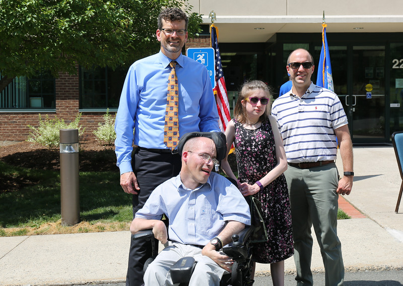 From left are FAVARH Executive Director Stephen Morris, self advocate Todd Theriault, self advocate and FAVARH client representative Lauren Traceski, and Nick Gelbar, of the UConn's University Center for Excellence in Developmental Disabilities.  Photo by John Fittts