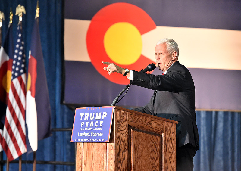 Gov. Mike Pence addresses the crowd during a rally Wednesday, Nov. 2, 2016, at the Ranch in Loveland. (Photo by Jenny Sparks/Loveland Reporter-Herald)