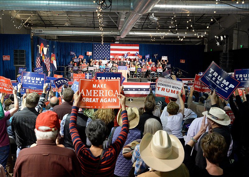The crowd cheers as Gov. Mike Pence speaks during a rally Wednesday, Nov. 2, 2016, at the Ranch in Loveland. (Photo by Jenny Sparks/Loveland Reporter-Herald)